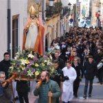 """San Blas, y los """"panes benditos"""" en procesión por las calles."""